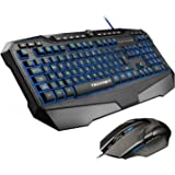 Gaming Keyboard, TeckNet Kraken LED Illuminated Gaming Keyboard and Mouse Set, UK Layout, Water-Resistant Design