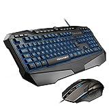 Gaming Keyboard, TeckNet Kraken LED Illuminated Gaming Keyboard and Mouse Set, UK Layout, Water-Resistant Design