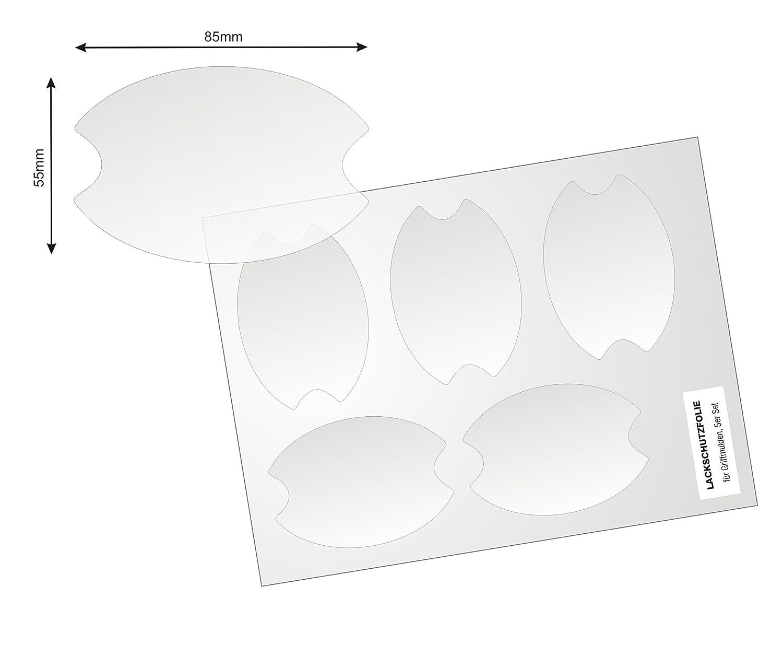 selbtklebender Lackschutz 5er Set mit f/ünf Schutzfolien 150/µm transparenter Universelle Lackschutzfolie f/ür Griffschalen // Griffmulden