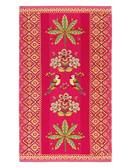 Pip Studio Beach Towel 100 x 180 cm Darjeeling Bird Design Pink