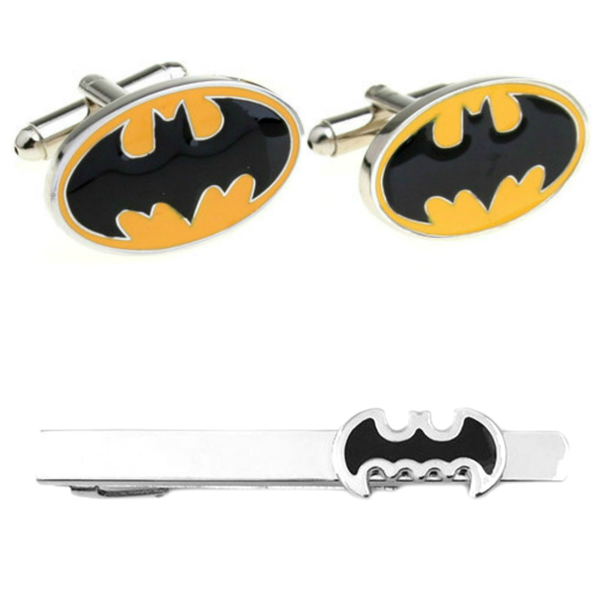 Outlander DC Comics - Batman Cufflink & Batman Cutout Tiebar - Set of 2 Wedding Superhero Logo w/Gift Box