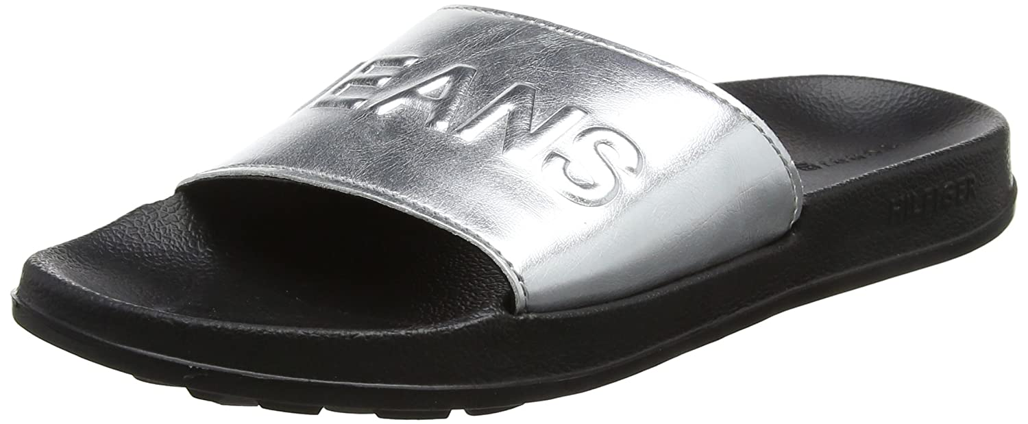 Tommy Jeans Tj Metallic Pool Slide, Zapatos de Playa y Piscina para Mujer Hilfiger Denim EN0EN00227