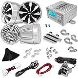 Pyle Dos Altavoces con amplificador para la motocicleta / moto / bicicleta / moto de nieve de 600W (2 x 300 W)