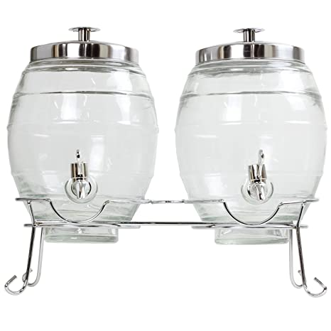 Doble barril dispensador de bebidas, 10 l, con soporte, cristal, para zumo