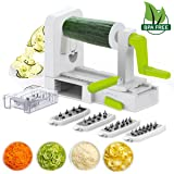 5 Blade Spiral Slicer - Spiralizer, iLove Cooking Vegetable Fruit Veggie Pasta & Spaghetti Maker; Stainless Steel Blades; Strong-Hold with Extra Blades Caddy; BPA Free