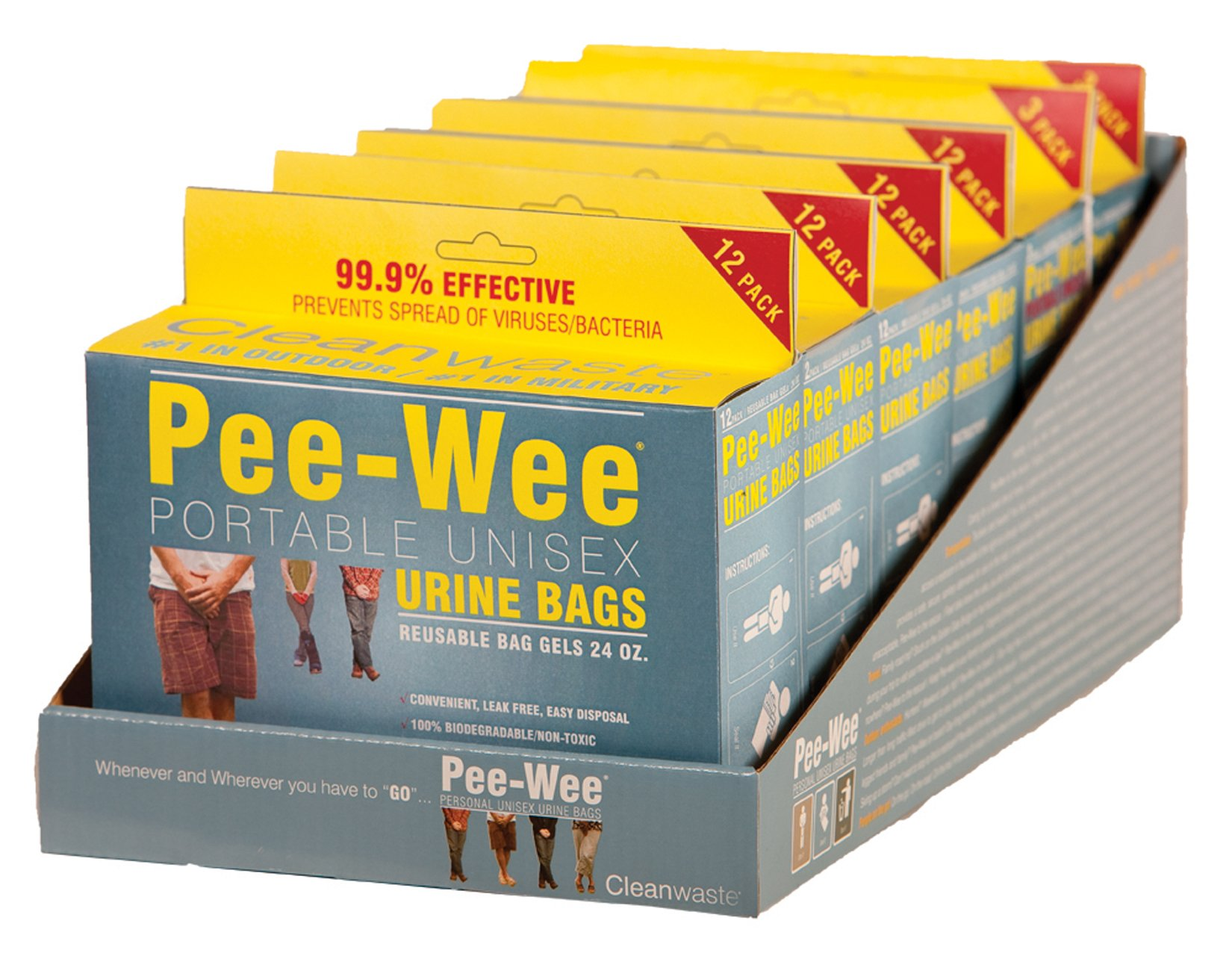 Cleanwaste Pee-Wee Unisex Urine Bags - 6 12 Packs