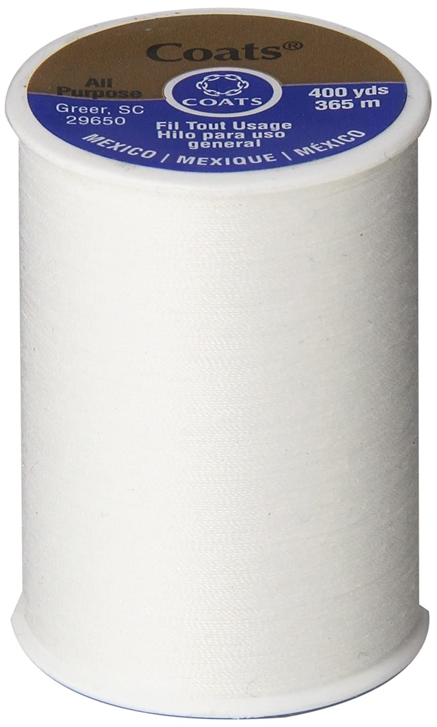 Coats & Clark All Purpose Thread 400 Yards White (One Spool of Yarn) (3) BCACS21433