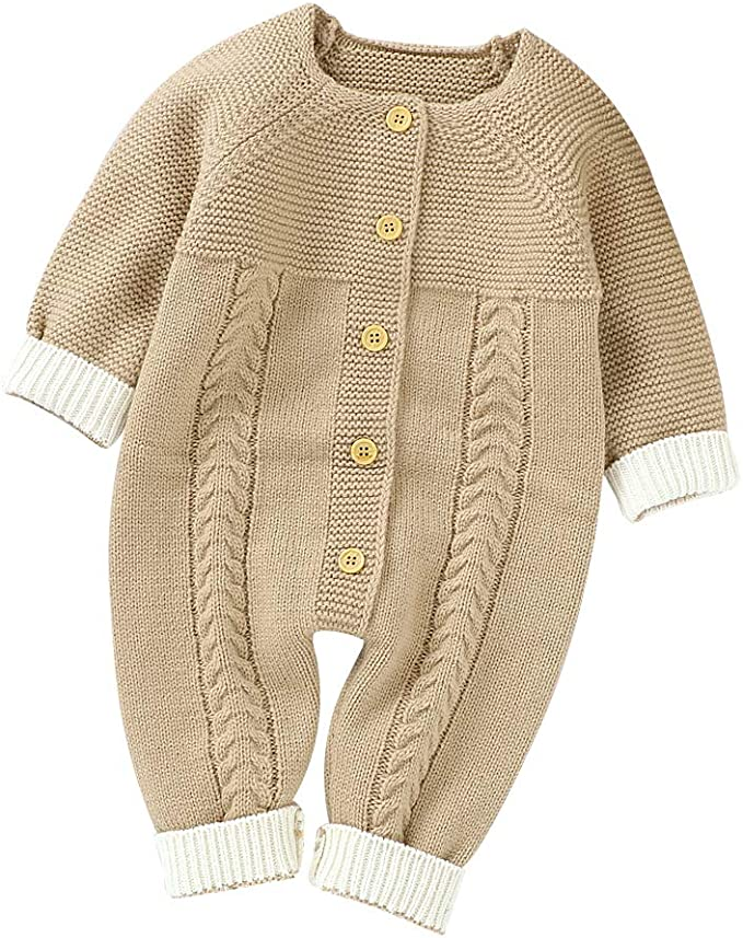 Hadetoto Newborn Baby Romper Knitted Sweater Long Sleeve Jumpsuit Outfits with Warm Hat