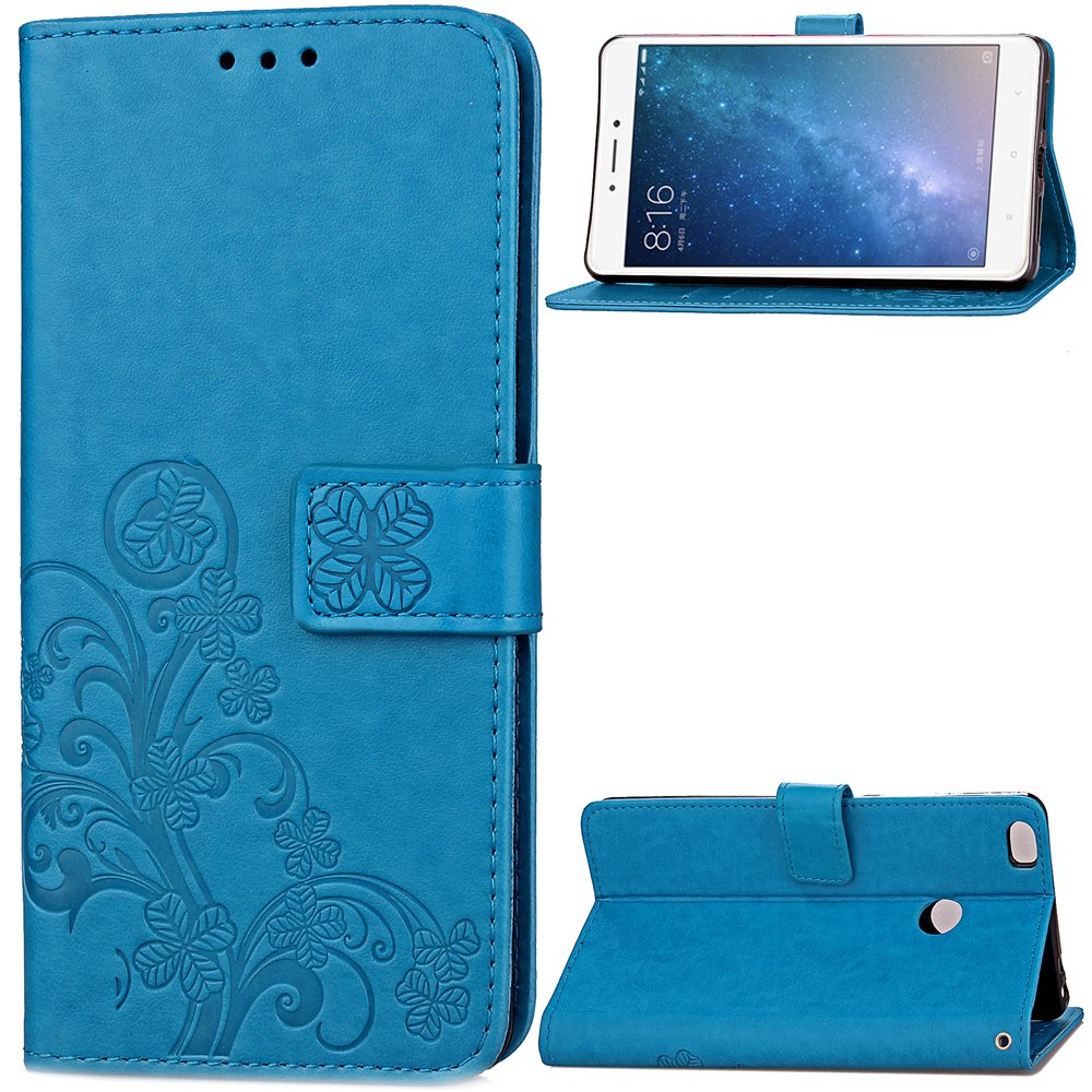 Carcasa para Funda Xiaomi Mi MAX 2 Carcasa, Cartera Flip Funda Caja de Cuero de la PU Carcasa con Tapa Flip Case TPU Funda (Blue). RF07