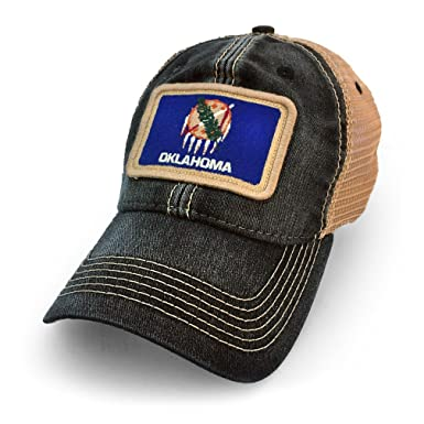 3c373aeb Image Unavailable. Image not available for. Color: State Legacy Revival  Oklahoma Flag Patch Trucker Hat ...