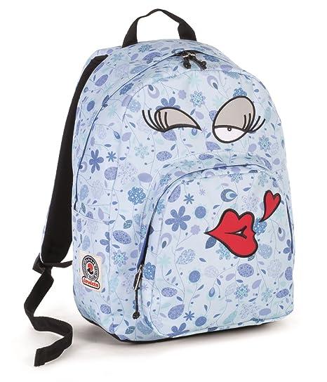 9f10ac7dd8 ZAINO INVICTA - OLLIE FACE - faccina Azzurro kiss fantasy - americano  scuola porta pc padded