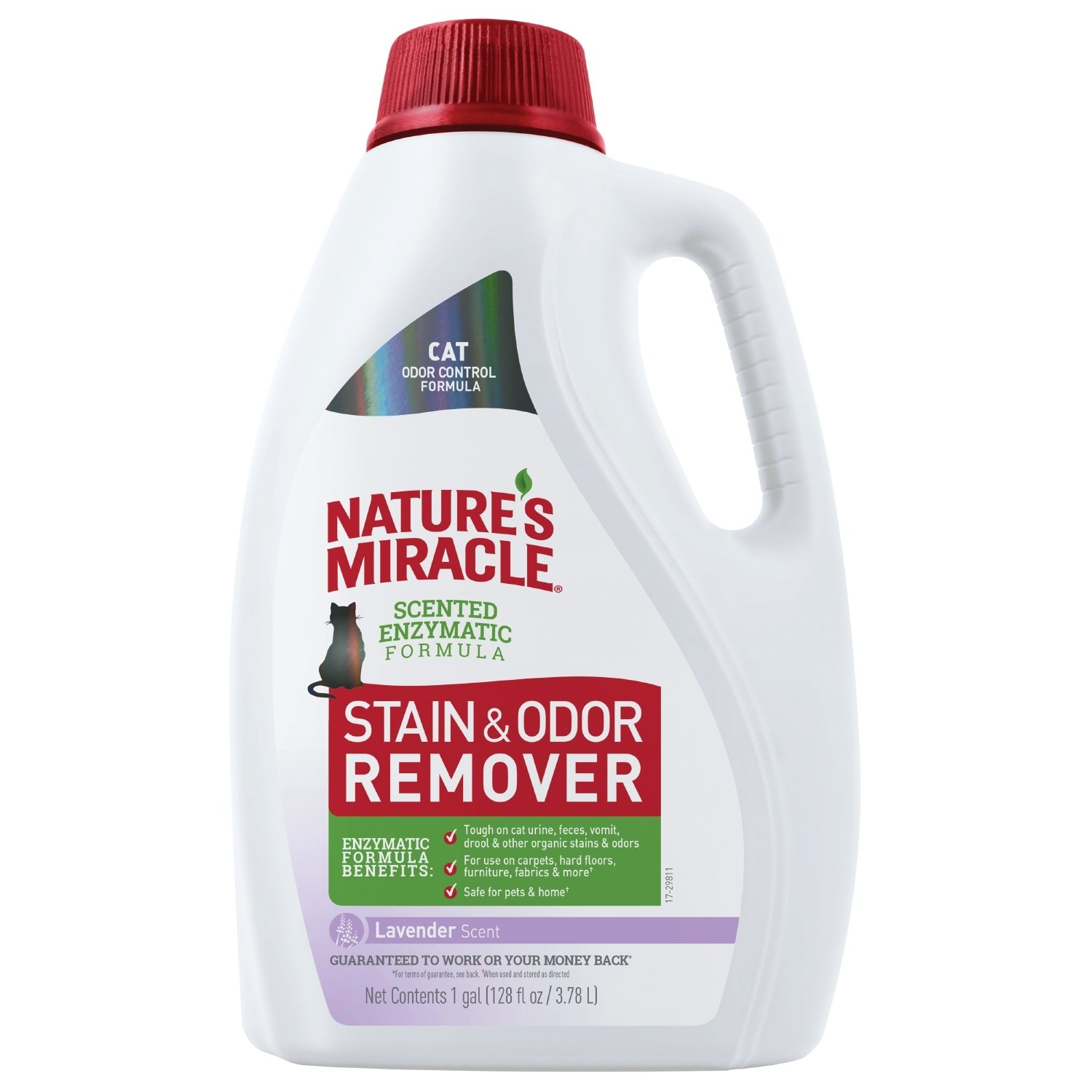 Nature's Miracle Cat Stain and Odor Remover, 128 fl oz, Lavender Scent, Enzymatic Formula for Urine Stains, Feces Stains, Vomit Stains and Drool Stains, Odor Control by Nature's Miracle
