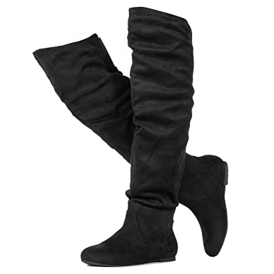 789107930cb8 RF ROOM OF FASHION Stretchy Over The Knee Slouchy Boots (Medium Calf) Black  (