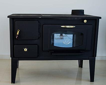 Prometey - stufa a legna da cucina, forno con vetro, 7 kW, piastra ...