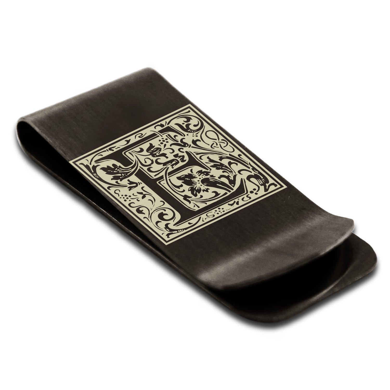 Matte Black Stainless Steel Letter E Initial Floral Box Monogram Engraved Money Clip Credit Card Holder
