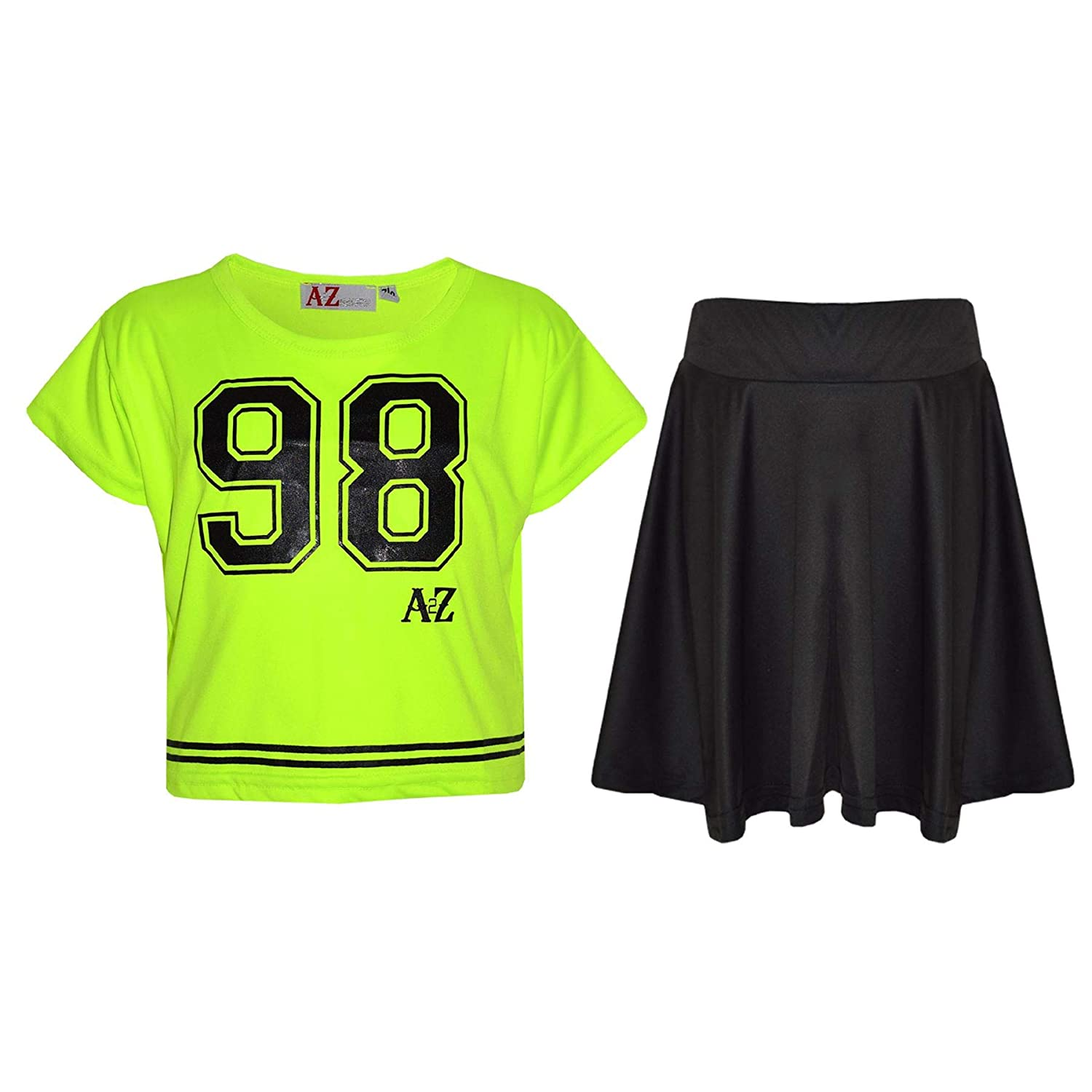 A2Z 4 Kids®®®® Girls Top Kids 98 Print Stylish Crop Top & Skater Skirt Set 7-13 Y