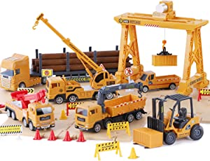 iPlay, iLearn Truck Toy Sets, Construction Cargo Transport Vehicles Playset, Gantry Crane, Logging & Pickup Tow Trucks, Rescue Crane, Forklift, Gifts for 3 4 5 6 Year Olds Boys Kids Toddlers Children