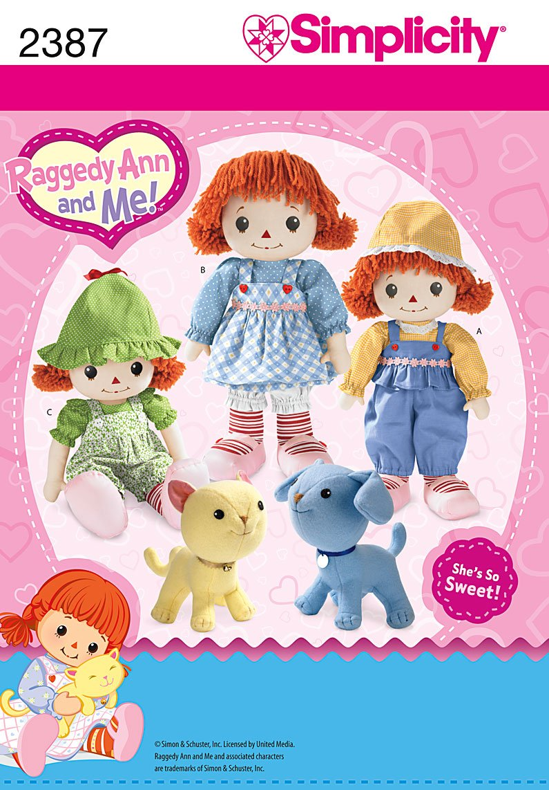 amazon com simplicity sewing pattern 2387 raggedy ann and me doll