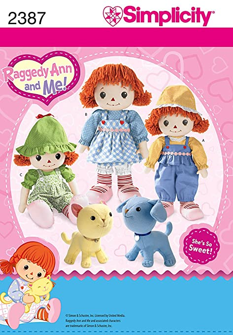 Simplicity Sewing Pattern 2387 Raggedy Ann and Me Doll: Amazon.co.uk ...