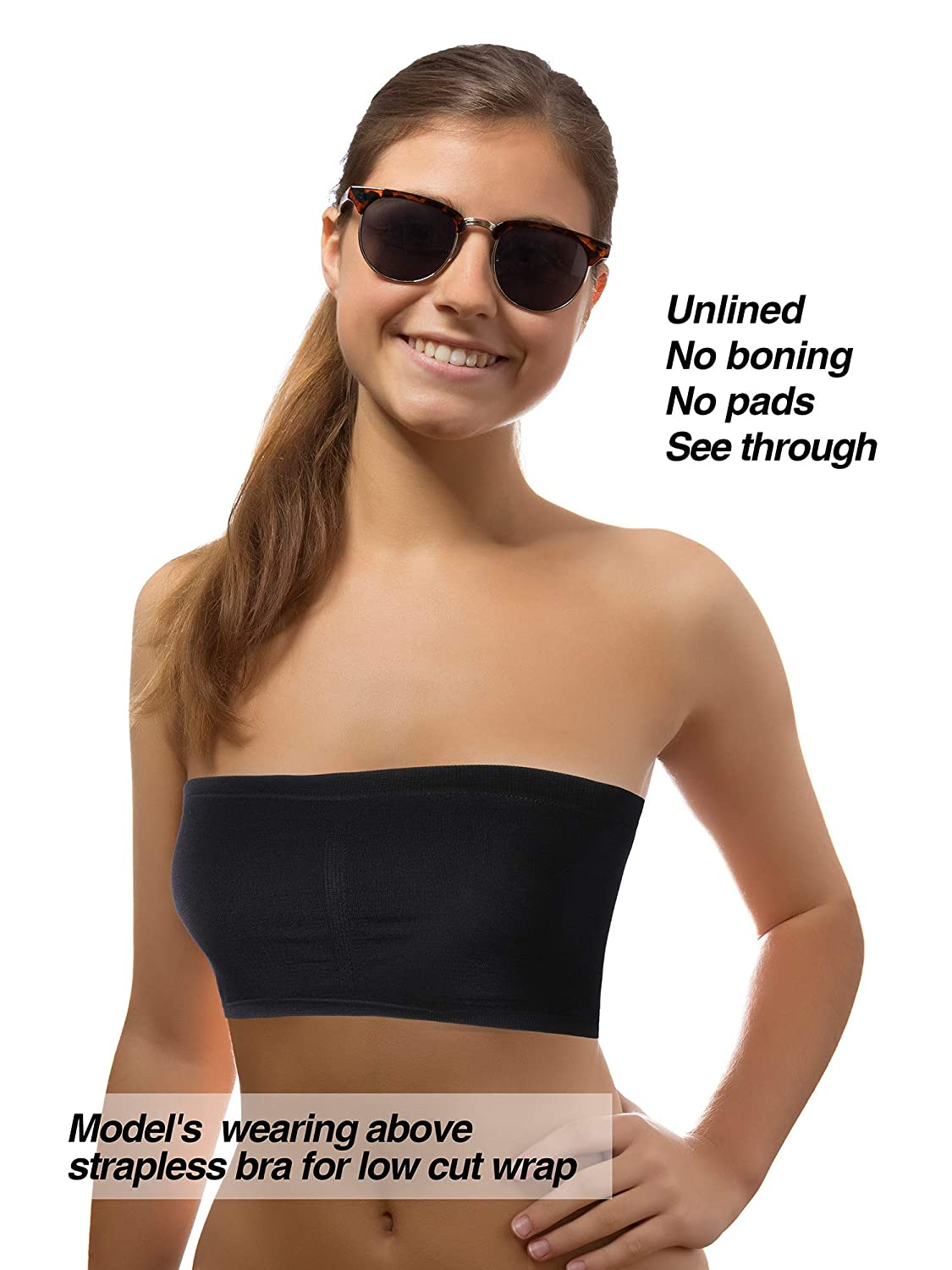 2a4b9ed415d4a Blulu 3 Pieces Strapless Bandeau Bralette Crop Tube Bra Stretchy Non-Padded  Bandeau for Women Girls, Assorted Sizes, 3 Colors at Amazon Women's  Clothing ...