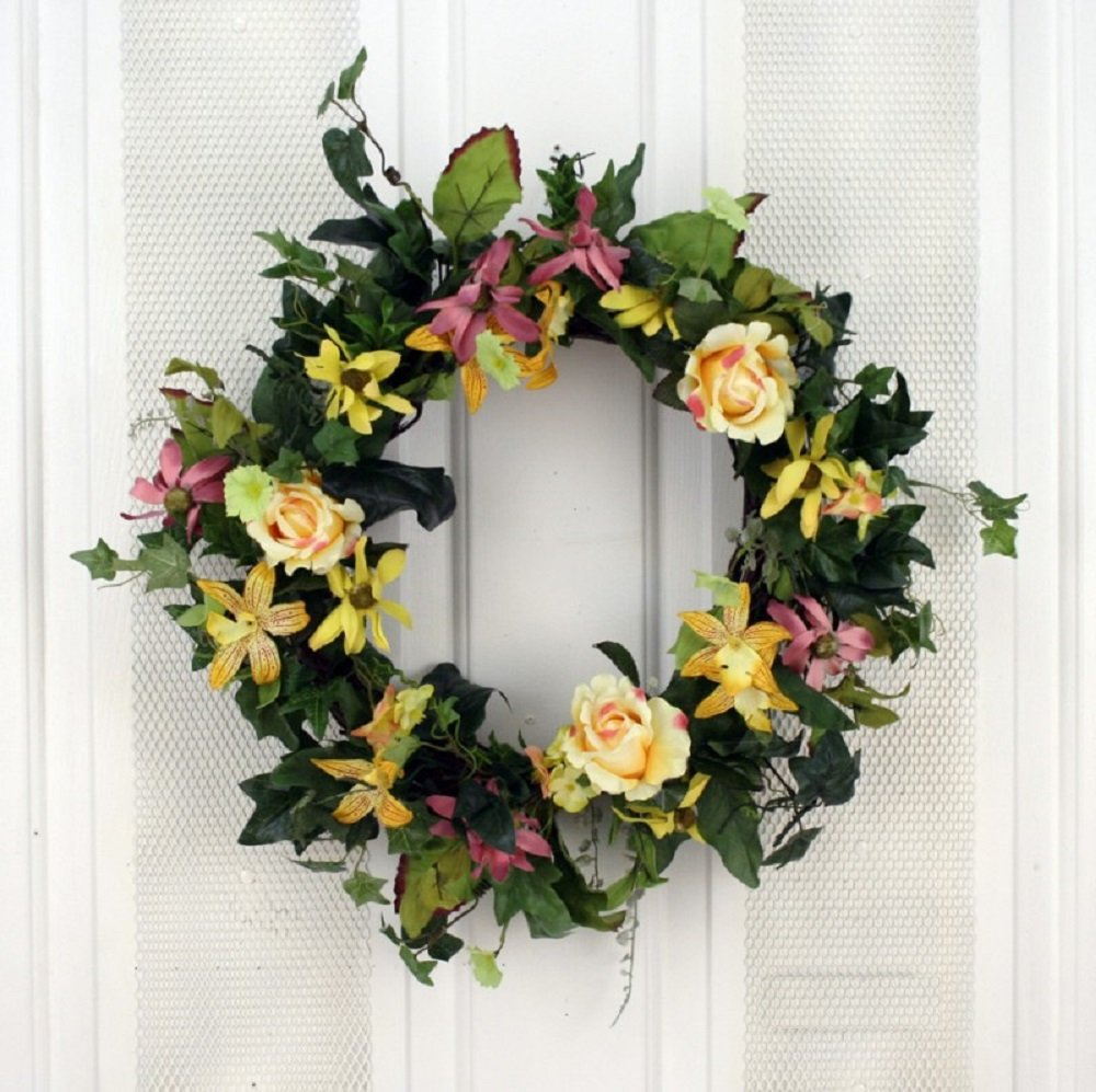 Amazon Com Yellow Rose Of Texas Silk Floral Wreath For Front Door