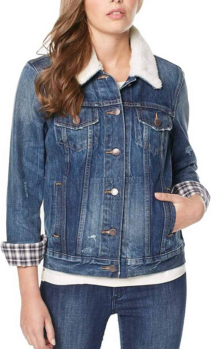 BUFFALO DAVID BITTON Womens Nova Fur Collar Denim Jacket Top