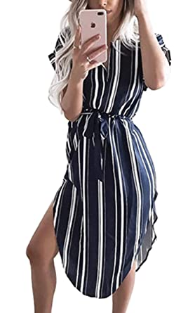 0e28ecd515b5 Ecowish Womens Dresses Summer Casual V-Neck Floral Print Geometric Pattern  Belted Dress  Amazon.co.uk  Clothing