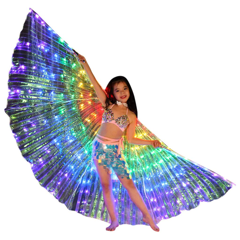 Flurries  Children LED Glow Angel Isis Wings Kids - Belly Dance Costume Cloak - Neon Colorful Butterfly Wings - Performance Clothing Cosplay Prop - Carnival Halloween Shows (with Telescopic Sticks) by Flurries