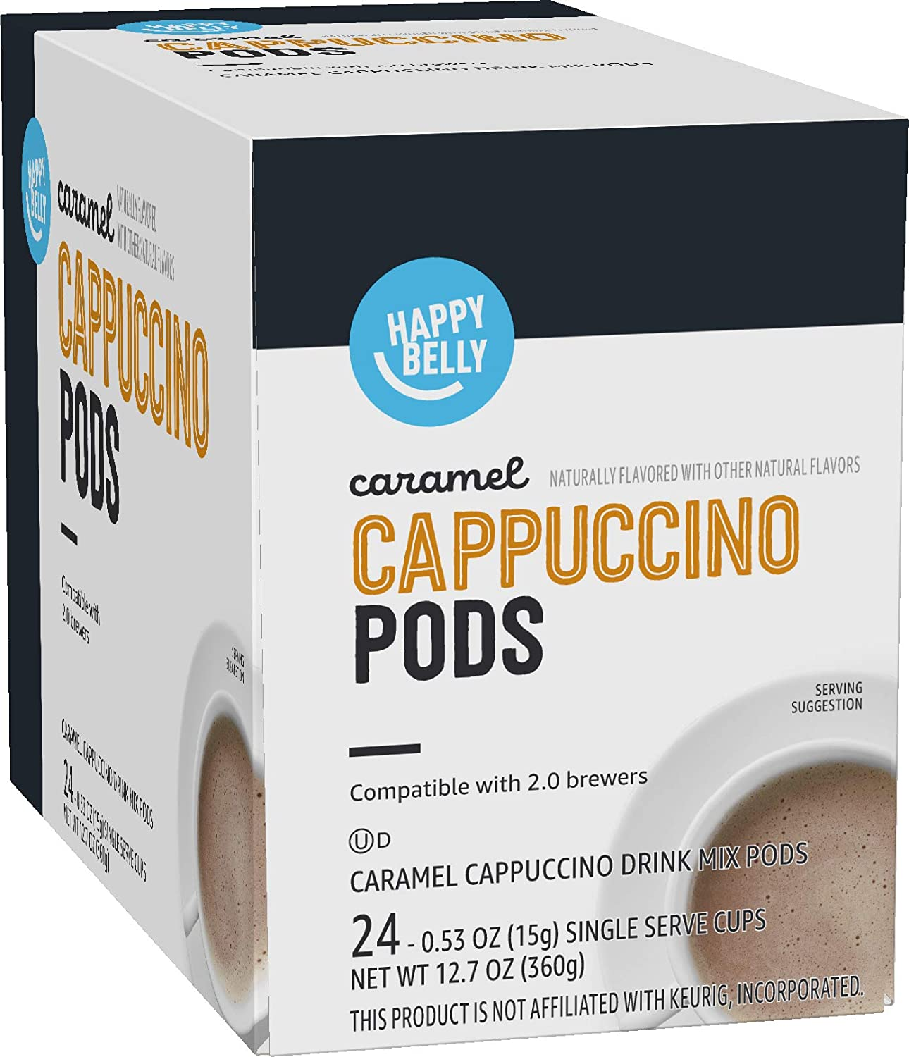 Amazon Brand - Happy Belly Cappuccino Coffee Pods Compatible with 2.0 K-Cup Brewers, Caramel Flavored, 24 Count