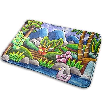 Amazoncom Asdgegasfas Bath Mat Rug Sketsa Gambar Pemandangan Alam