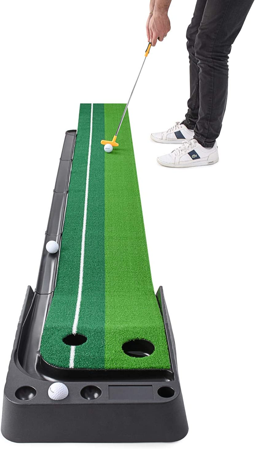 Abco Tech Indoor Golf Putting Green – Portable Mat with Auto Ball Return Function – Mini Golf Practice Training Aid, Game and Gift for Home, Office, Outdoor Use – 3 Bonus Balls