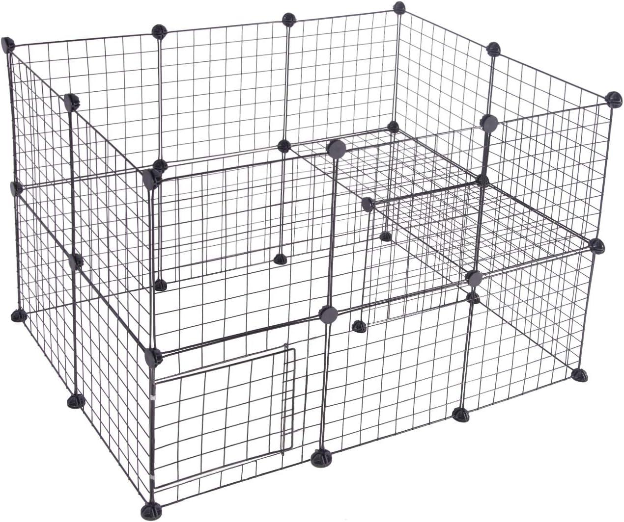 EUGAD DIY Jaula Modular Valla para Animales Pequeños, Parque para Mascotas para Hámsteres Cobayas Conejos Perros Gatos 24 Pieza Plástico/Metal Negro 0003WL