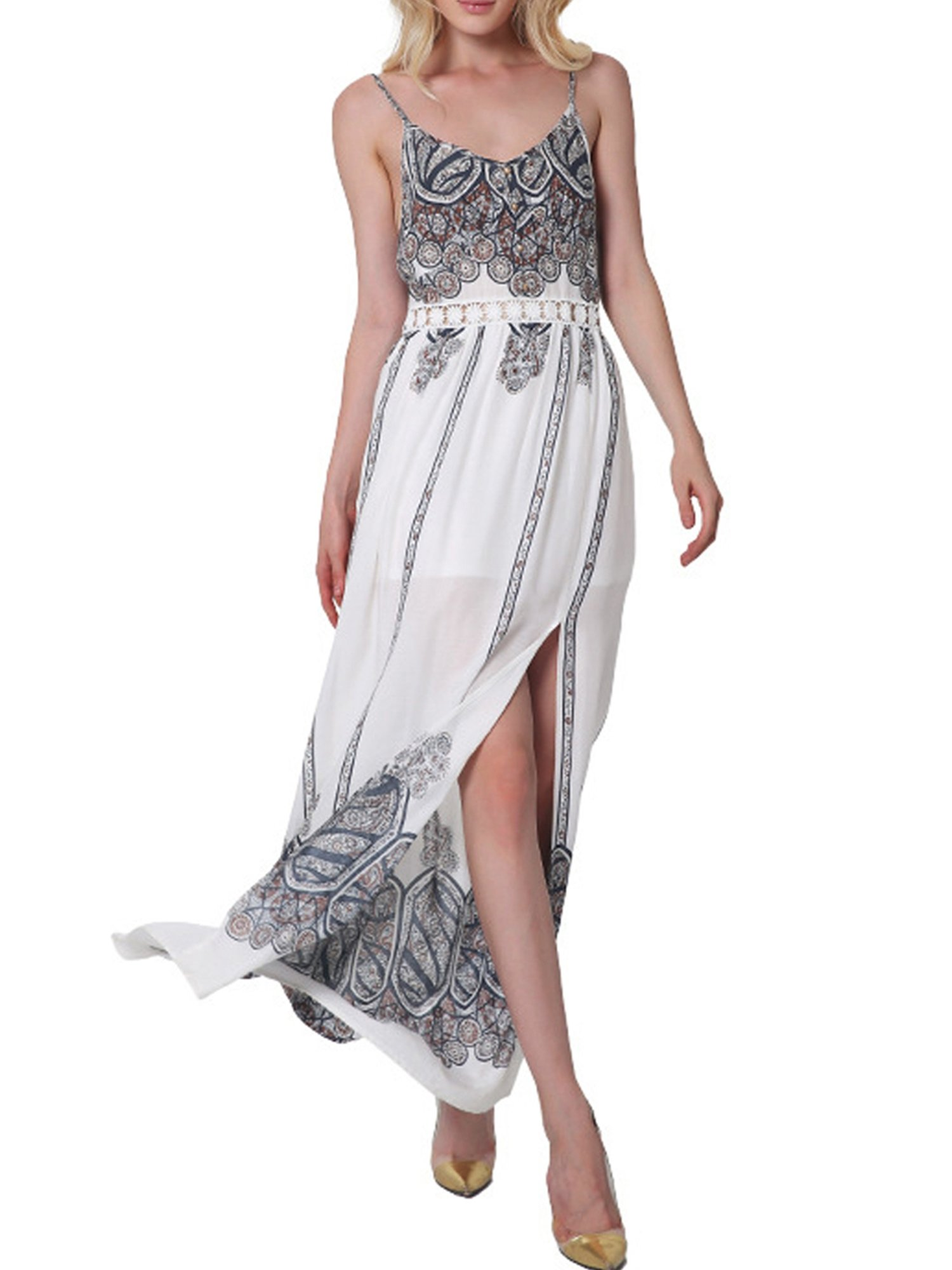 CHIC DIARY Women's Fashion Spaghetti Strap Printed Floral Split Summer Beach Maxi Dress (XXL, Khaki)