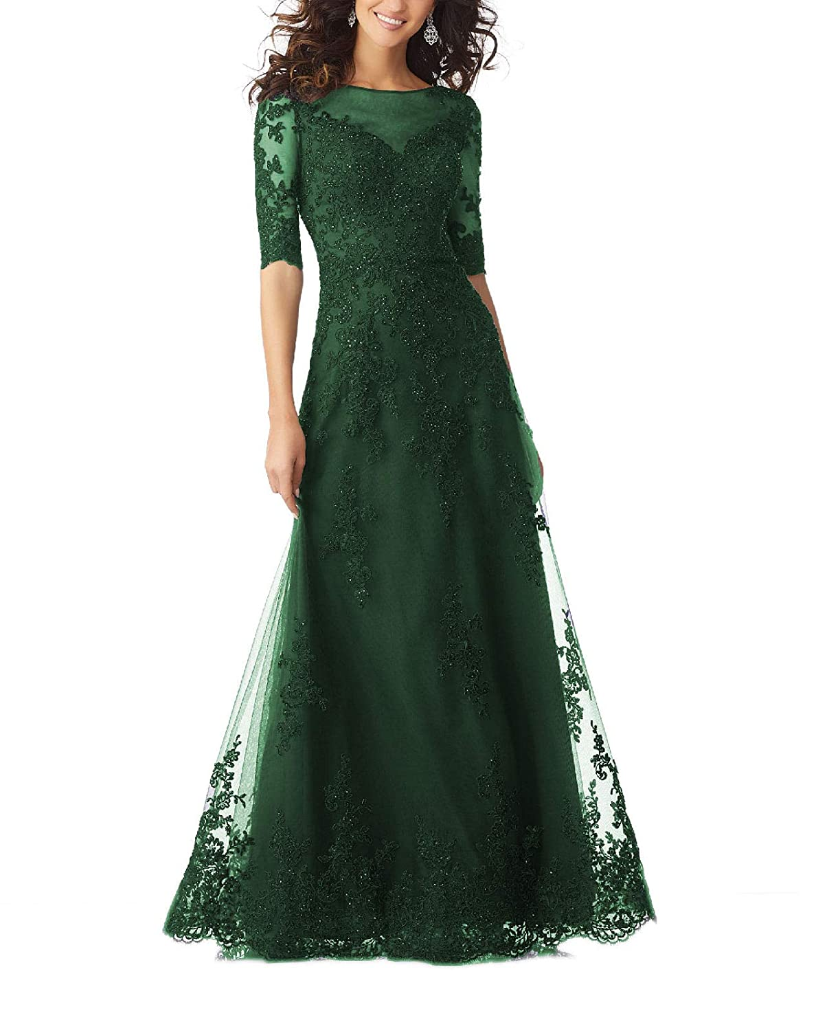 Darkgreen Yisha Bello Women's V Neck Lace Appliques Mother of The Bride Dress Tulle Beaded Half Sleeve Evening Formal Gowns