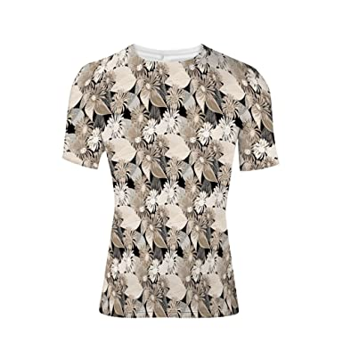 fccb4e00 Amazon.com: Tee Shirts Tops,Soft Colors Faded Foliage Leaves Natural ...