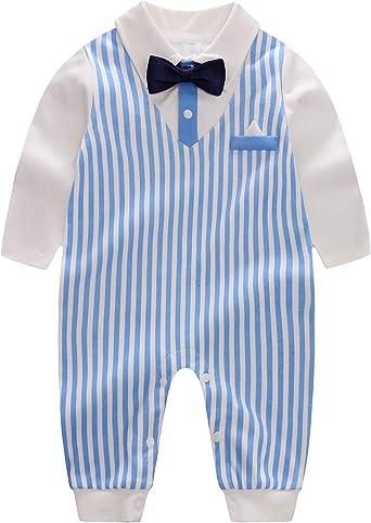 Newborn Infants Kids Gentleman Boys Baby Rompers O-Neck Cotton Jumpsuit Fashion