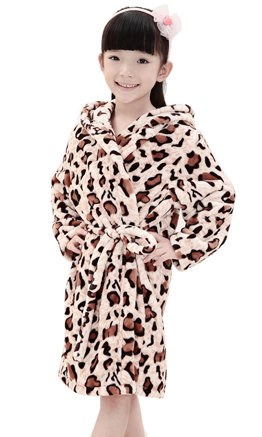 Starsource Kids Boys Girls Winter Fleece Plush Hooded Home Sleep Wear Pajamas Bath Robe