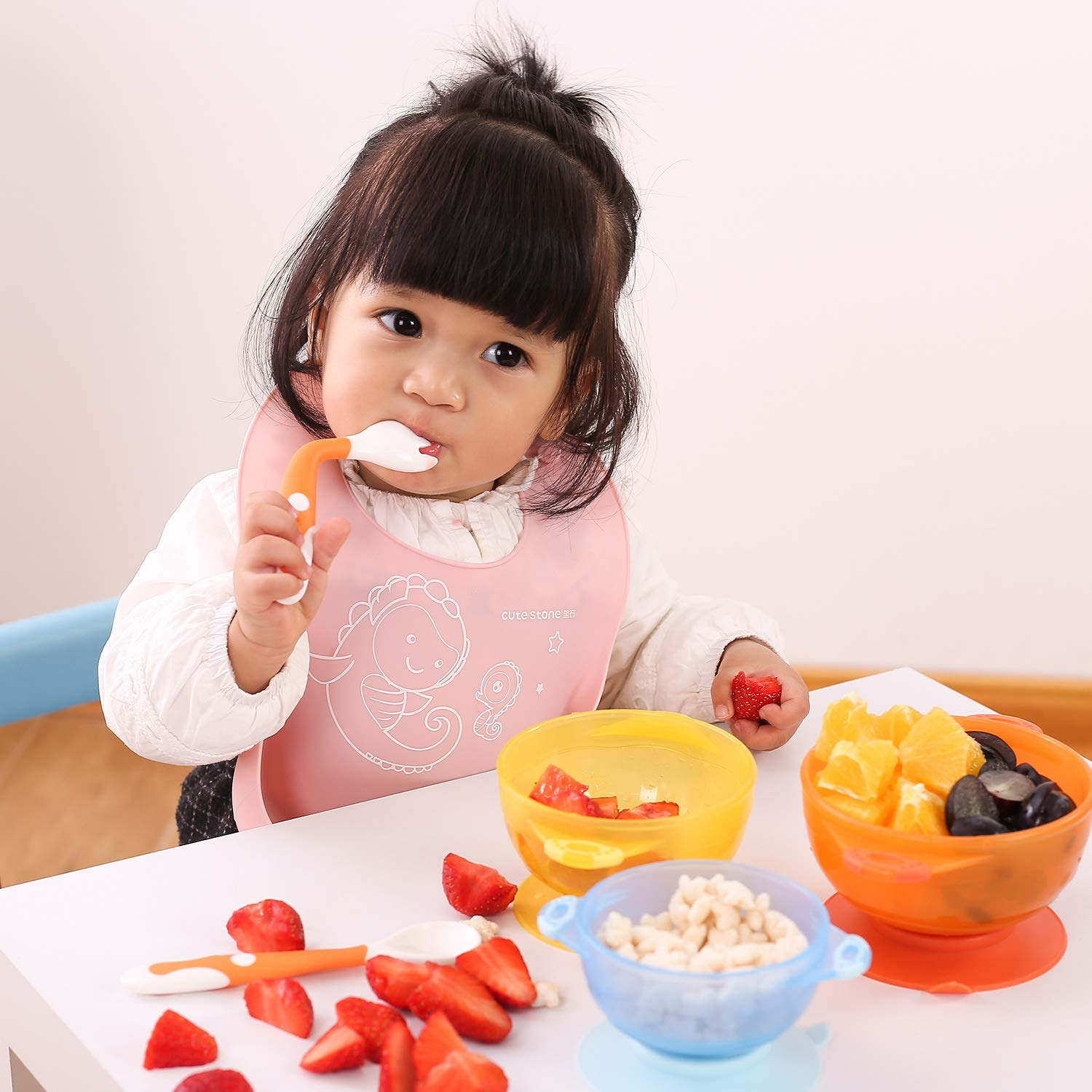 Cute Stone Toddlers Feeding Training Spoon and Fork Tableware Set Easy Grip Heat-Resistant Bendable BPA Free Great Self-Feeding Learning Spoons Forks for Kids Baby Utensils Spoons Forks 3 Sets