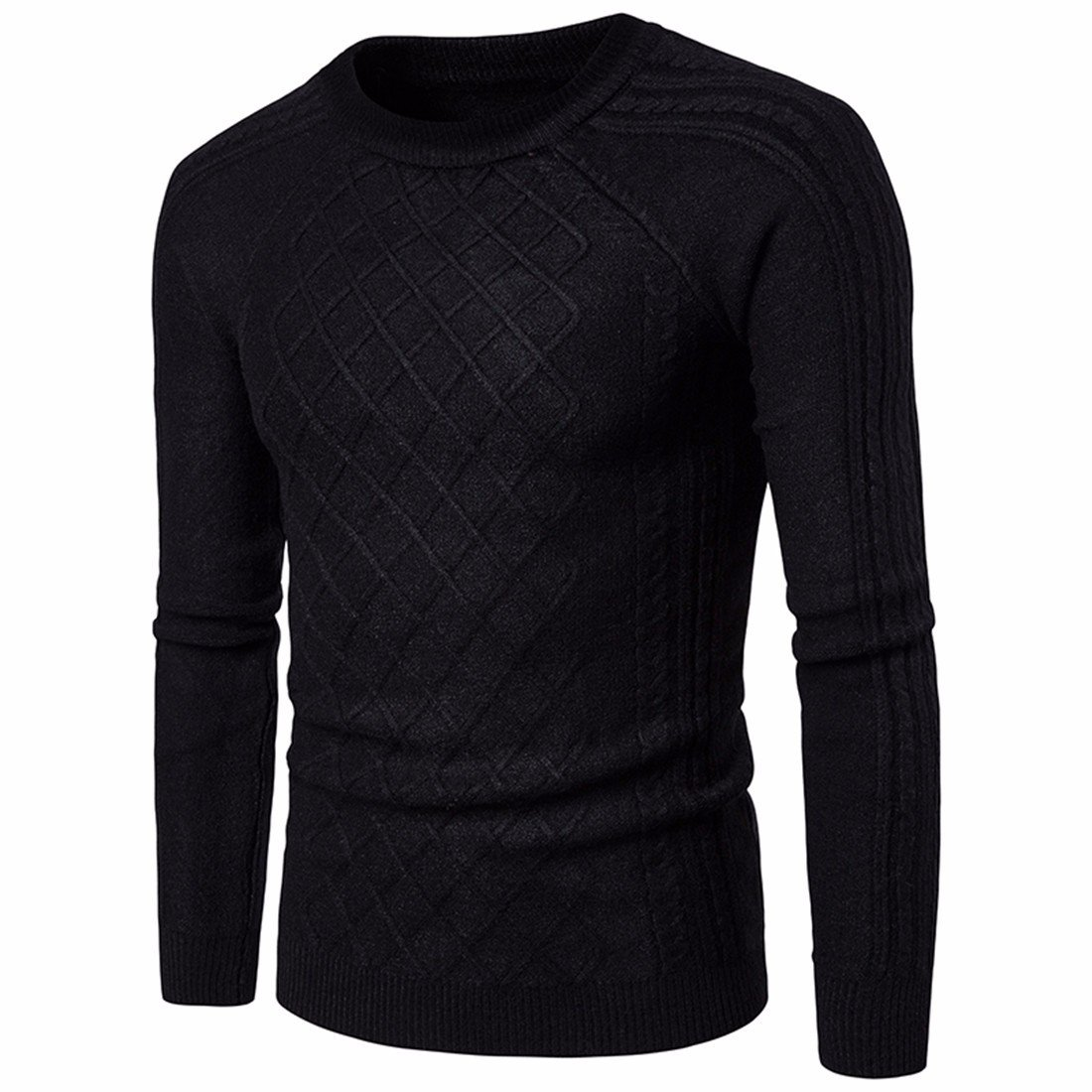 Autumn and winter are vertical stripes diamond pattern Mens Cotton Crewneck sweater sweater-YU/&XIN