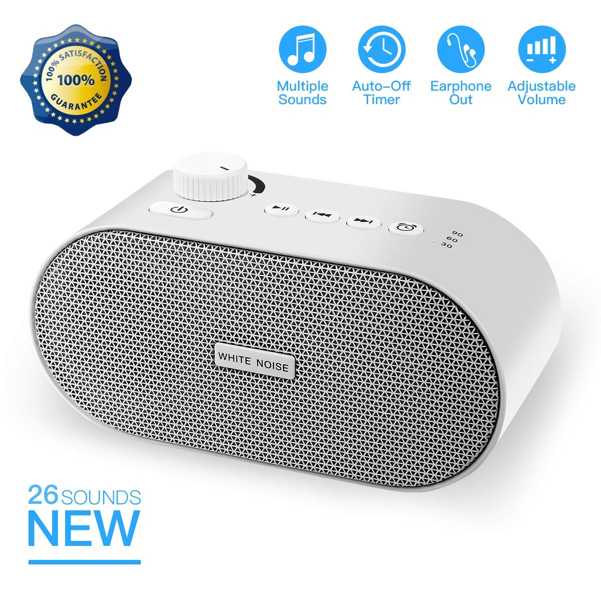 White Noise Machine, Portable Sleep Sound Therapy Machine with 26 Non-looping Soothing Sounds, USB Output Charger, Travel Sleep Auto-Off Timer for Baby Kids Adults (White)... by Mai jili (Image #1)