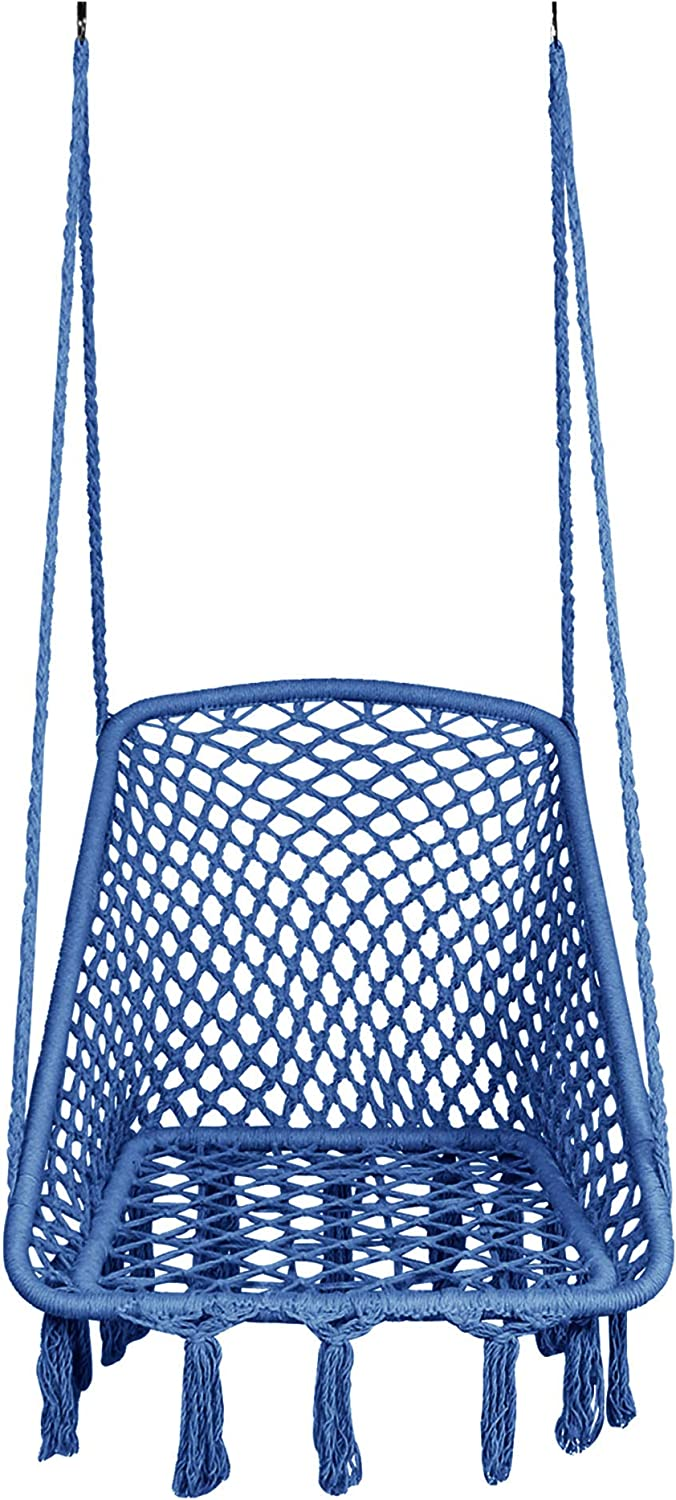LAZZO Square Hammock Chair Hanging Knitted Mesh Cotton Rope Macrame Swing, with Hanging kit and Chain, 260 LBS Capacity, for Bedroom, Outdoors, Garden, Patio, Yard. Child, Girl, Adult (Indigo)