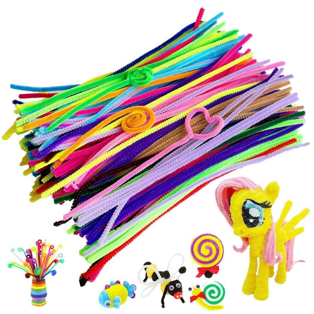 KOKOBUY 300 Pcs Craft Pipe Cleaners Bendable Twistable Chenille Stems Plush Stick for Kids Kindergarten Handmade DIY Art Supplies Early Education, 12'' Long