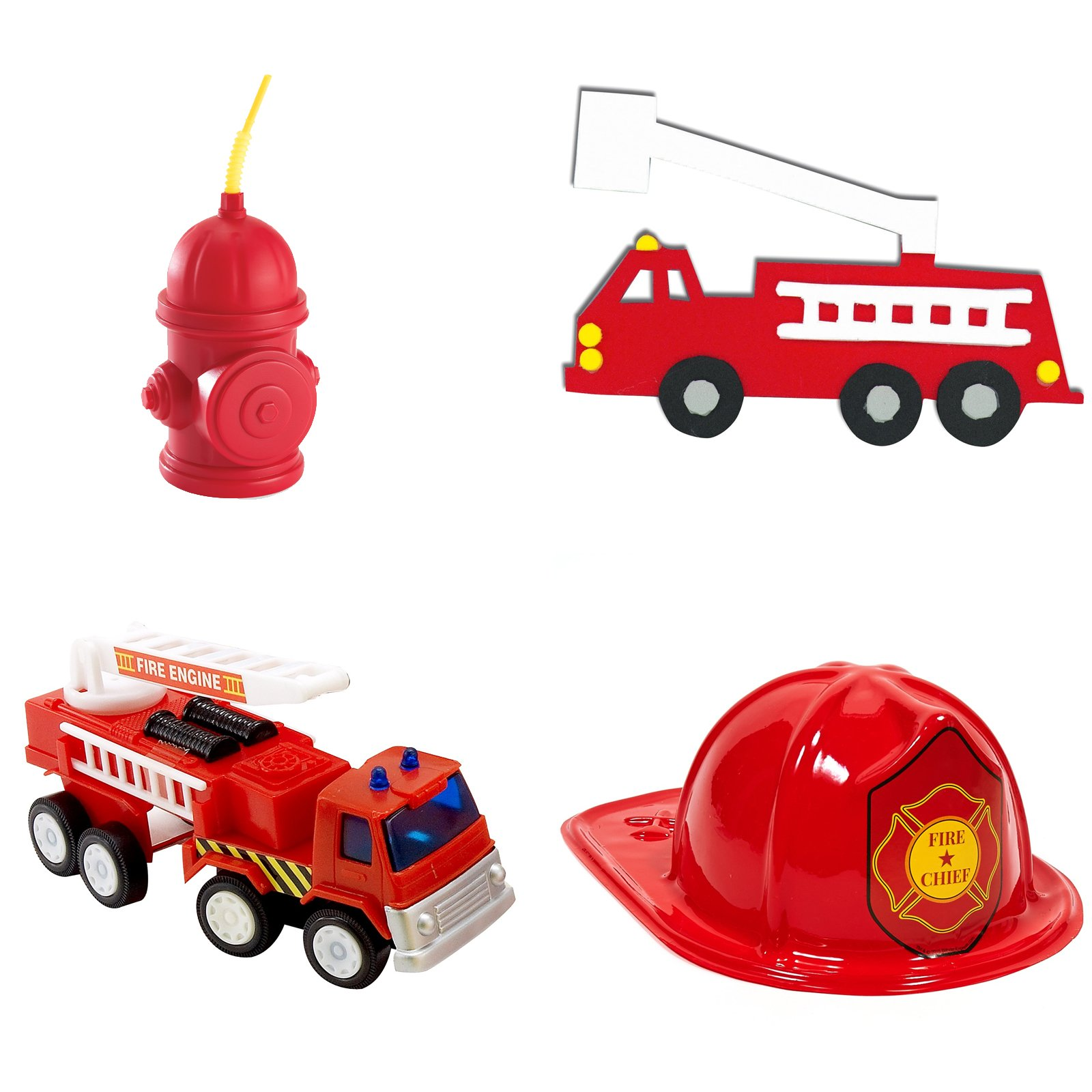 Fire Truck Party Supplies - Fireman Party Favor Kit for 8