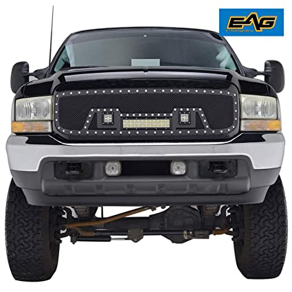 Rivet Grille Packaged Matte Black Stainless Steel Wire Mesh With Three LED  Lights for 99-04 Ford Super Duty
