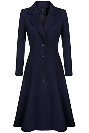 select for clearance best selection of attractive colour CNlinkco Long Trench Coat Women Extra Long Single Breasted Pea Coat Overcoat