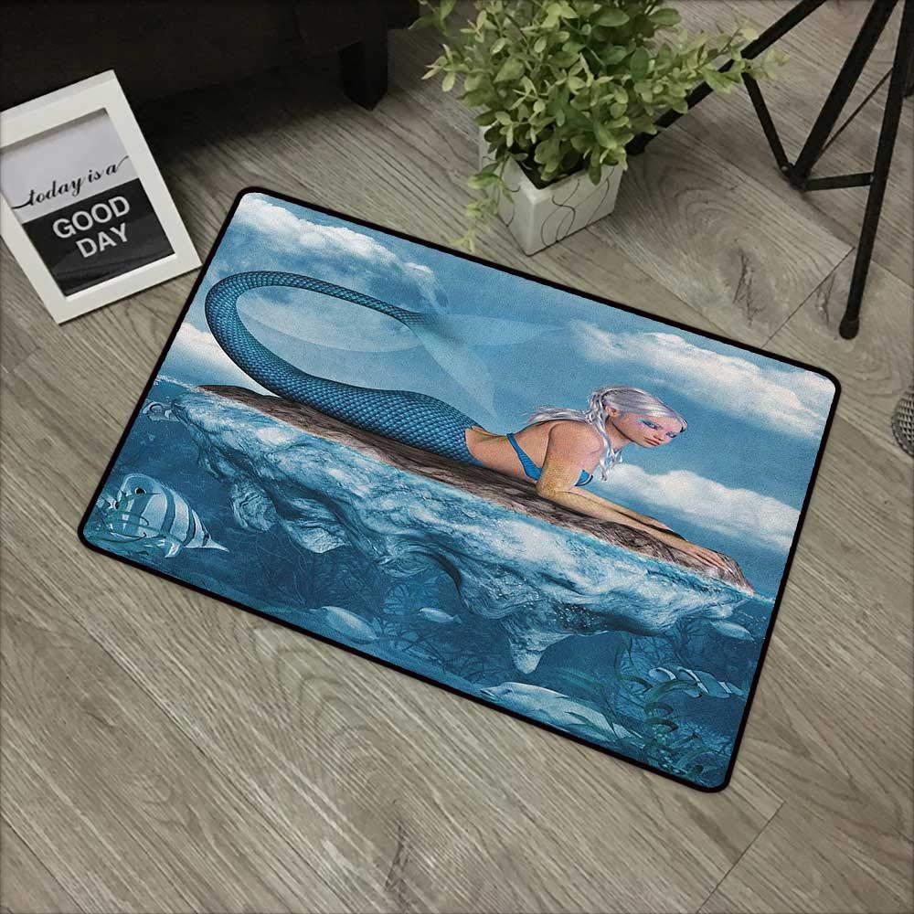 Buck Haggai Carpets Floor Door Mat Mermaid,Graphic Art Print of a Mermaid Girl on a Rock in The Sea Mythical Character, Navy Blue White,for Indoor Outdoor Easy Clean Entry Way,31''x47'' by Buck Haggai
