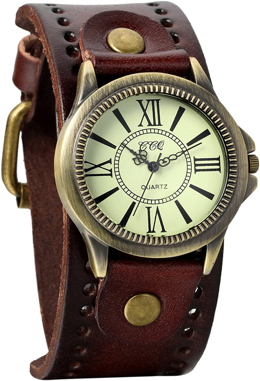 Avaner - Reloj de pulsera unisex estilo punk retro de bronce con esfera redonda marrón y correa de piel ancha, correa de puño y números romanos, analógico de cuarzo