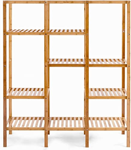 Editors' Choice: MyEasyShopping 5 Tier Solid Bamboo Construction Leaning Wall Bookcase Shelf Home Shelving Furniture Stand Decor