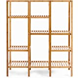 MyEasyShopping 5 Tier Solid Bamboo Construction Leaning Wall Bookcase Shelf Home Shelving Furniture Stand Decor