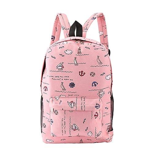 Wafalano Mochila tamaño pequeño para mujer, mochilas de lona de gran capacidad impresas de dibujos